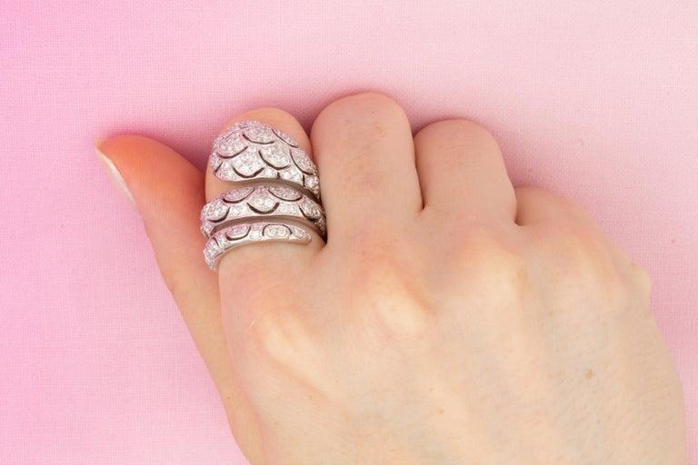Ella Gafter Diamond Snake Cocktail Ring For Sale 3