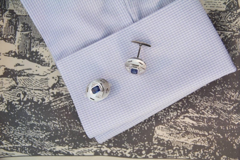 Artist Ella Gafter Sapphire Diamond White Gold Cufflinks For Sale
