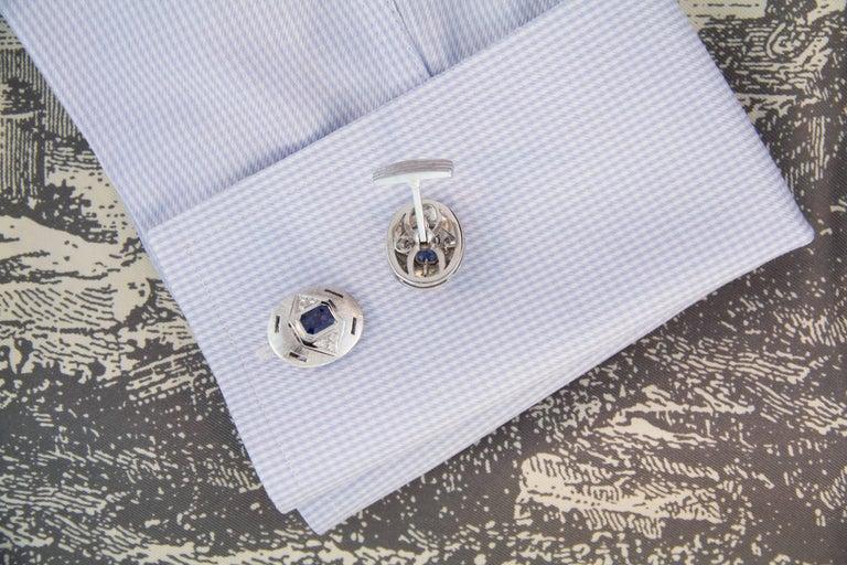 Round Cut Ella Gafter Sapphire Diamond White Gold Cufflinks For Sale