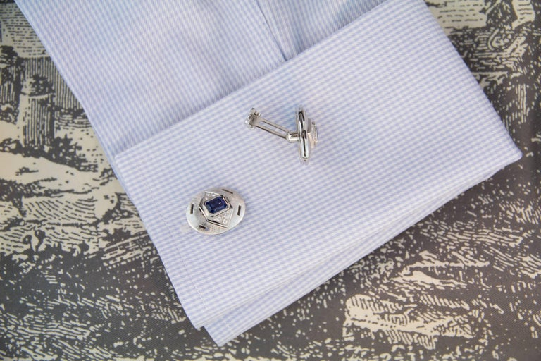 Ella Gafter Sapphire Diamond White Gold Cufflinks In New Condition For Sale In New York, NY