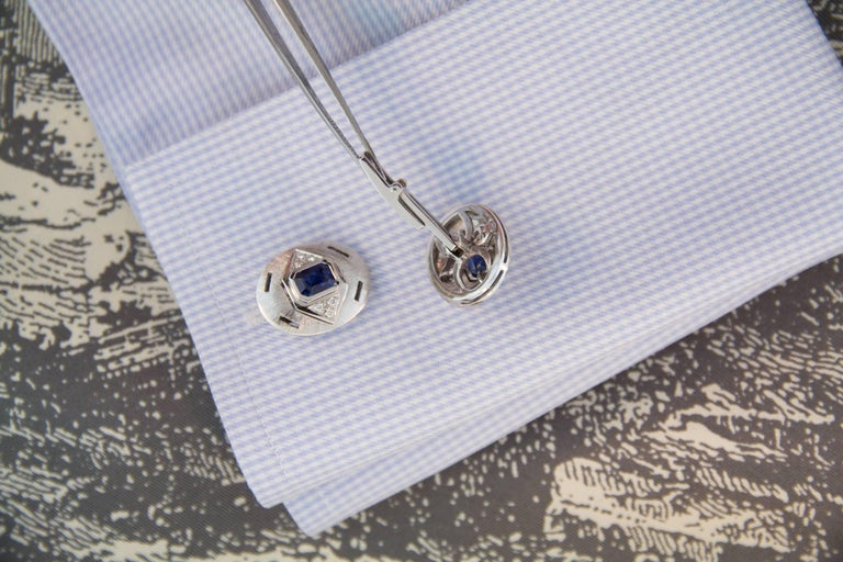 Women's or Men's Ella Gafter Sapphire Diamond White Gold Cufflinks For Sale