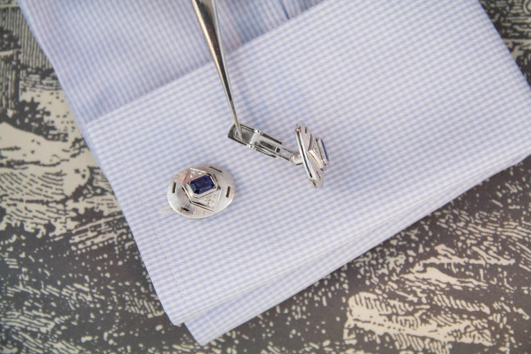 Ella Gafter Sapphire Diamond White Gold Cufflinks For Sale 1