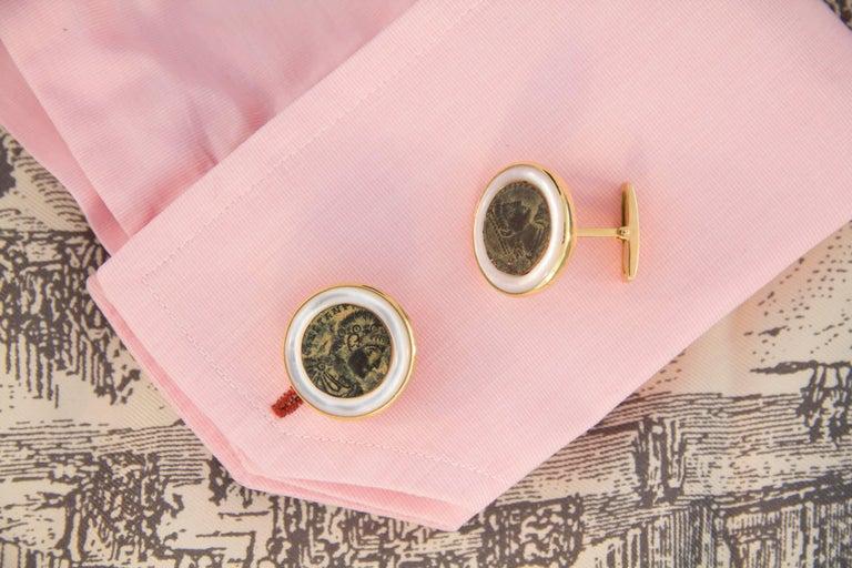 Artist Ella Gafter Copper Coin Gold Cufflinks  For Sale