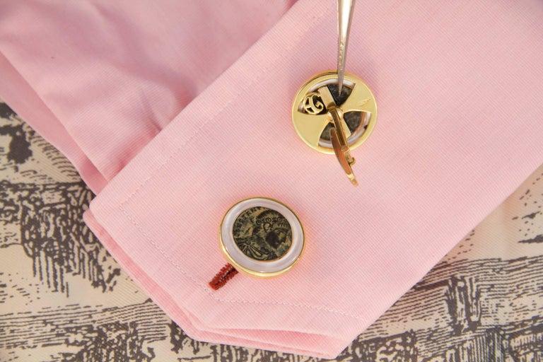 Women's or Men's Ella Gafter Copper Coin Gold Cufflinks  For Sale