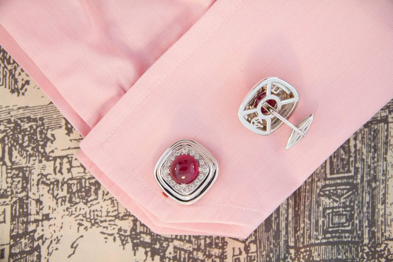 Ella Gafter Ruby and Diamond White Gold Cufflinks In As New Condition For Sale In New York, NY