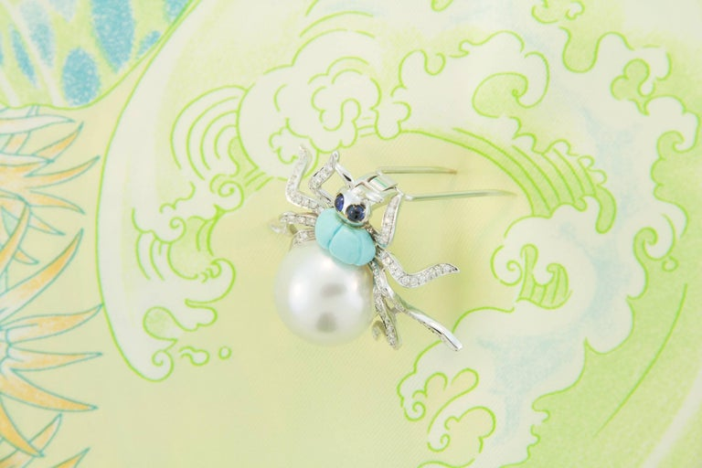 Ella Gafter South Sea Pearl and Diamond Spider Brooch Pin For Sale 1