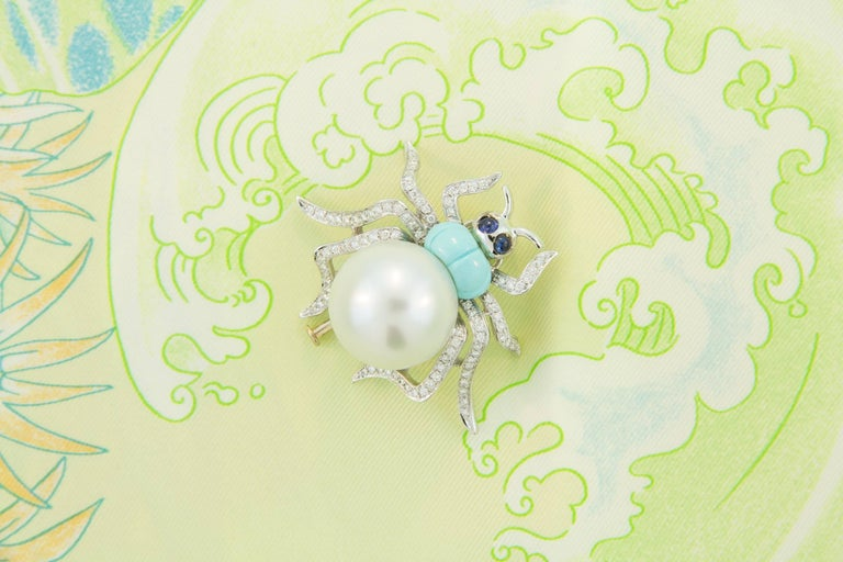 Ella Gafter South Sea Pearl and Diamond Spider Brooch Pin In New Condition For Sale In New York, NY