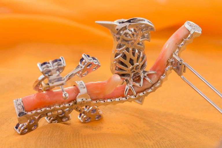 Ella Gafter Love Bird Sapphire Diamond Pin Brooch  For Sale 8