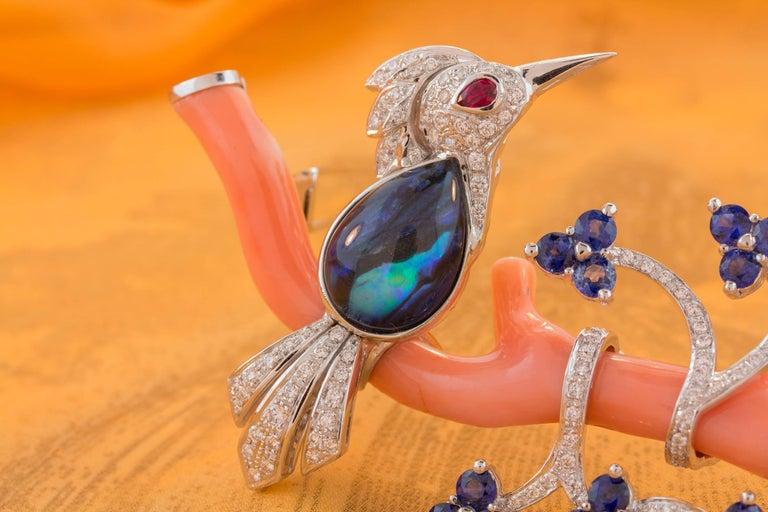 Ella Gafter Love Bird Sapphire Diamond Pin Brooch  For Sale 6