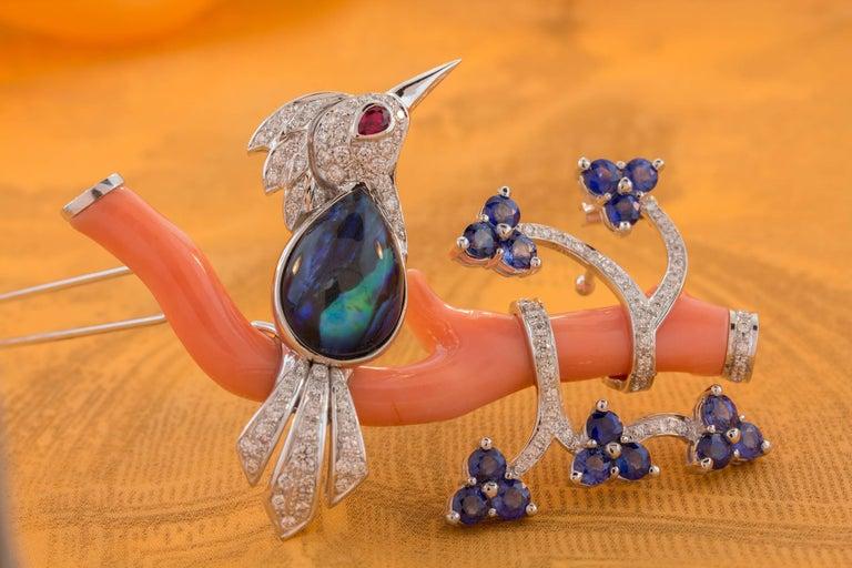 Ella Gafter Love Bird Sapphire Diamond Pin Brooch  For Sale 5