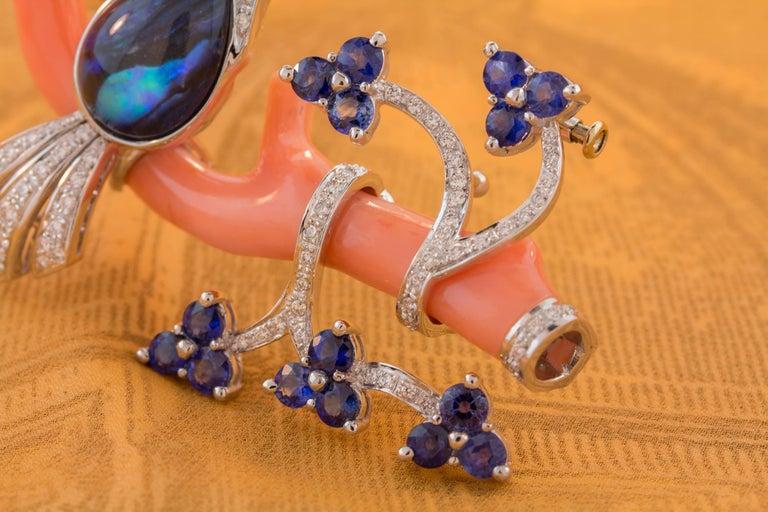 Ella Gafter Love Bird Sapphire Diamond Pin Brooch  For Sale 7