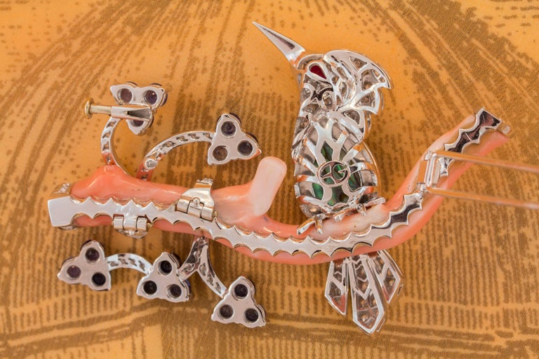 Ella Gafter Love Bird Sapphire Diamond Pin Brooch  For Sale 4