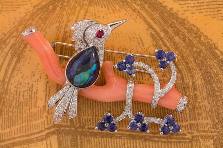 Ella Gafter Love Bird Sapphire Diamond Pin Brooch  For Sale 2