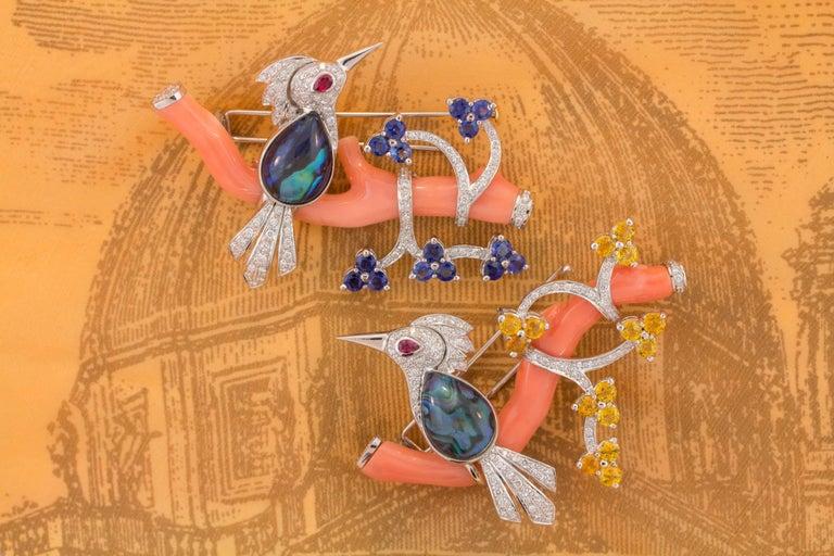 Ella Gafter Love Bird Sapphire Diamond Pin Brooch  For Sale 9