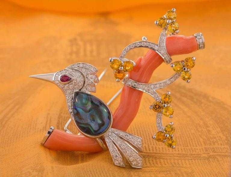 Ella Gafter Love Bird Diamond Sapphire Brooch Pin  For Sale 7