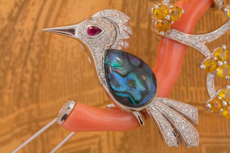 Ella Gafter Love Bird Diamond Sapphire Brooch Pin  For Sale 6