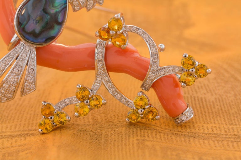 Ella Gafter Love Bird Diamond Sapphire Brooch Pin  For Sale 8