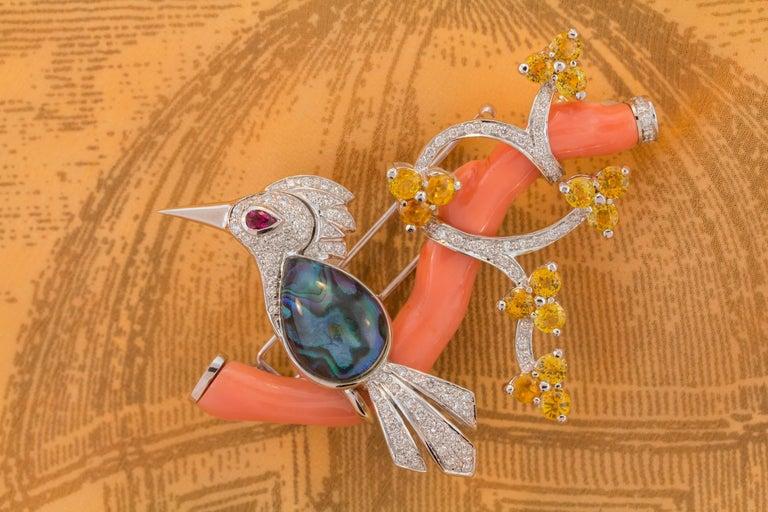 Ella Gafter Love Bird Diamond Sapphire Brooch Pin  For Sale 3
