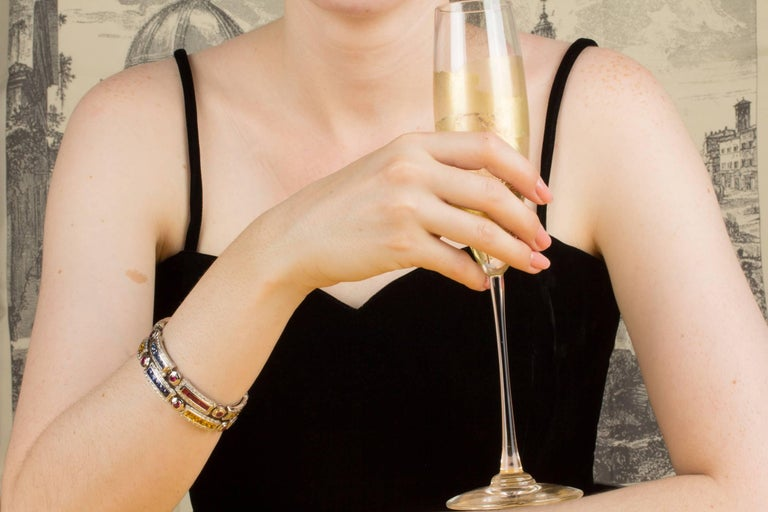 Ella Gafter Sapphire Ruby Emerald Diamond Multicolor Line Bracelet For Sale 5