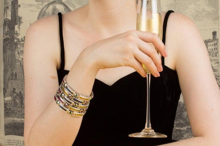 Ella Gafter Sapphire Ruby Emerald Diamond Multicolor Line Bracelet For Sale 6