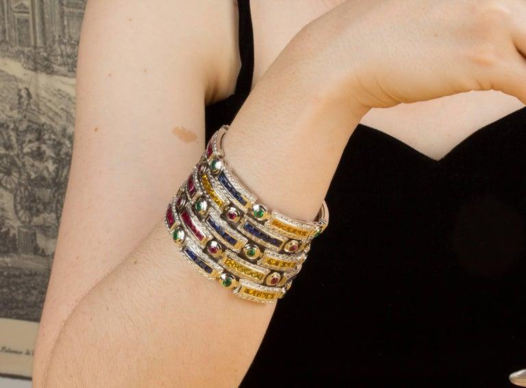 Ella Gafter Sapphire Ruby Emerald Diamond Multicolor Line Bracelet For Sale 7