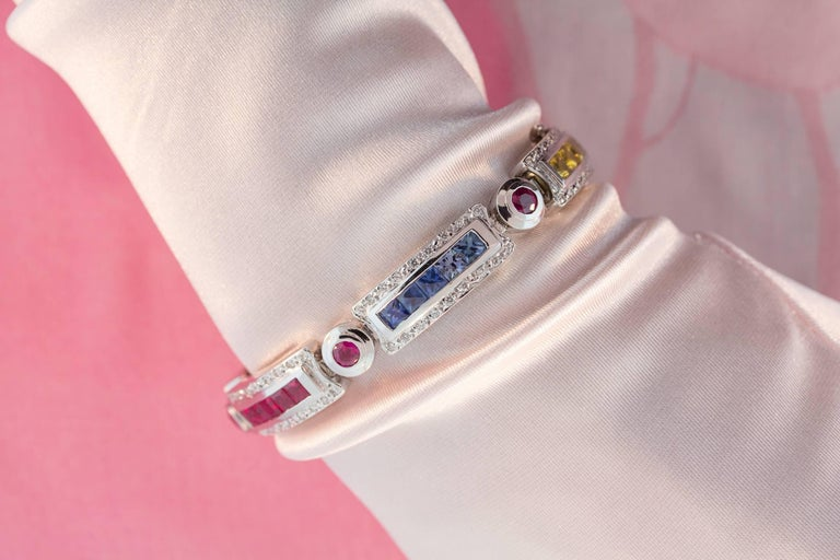 Ella Gafter Sapphire Ruby Emerald Diamond Multicolor Line Bracelet In New Condition For Sale In New York, NY