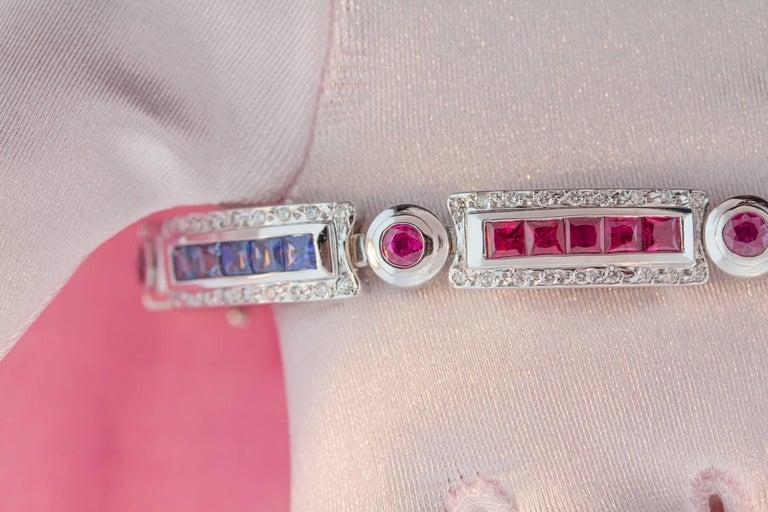 Ella Gafter Sapphire Ruby Emerald Diamond Multicolor Line Bracelet For Sale 4