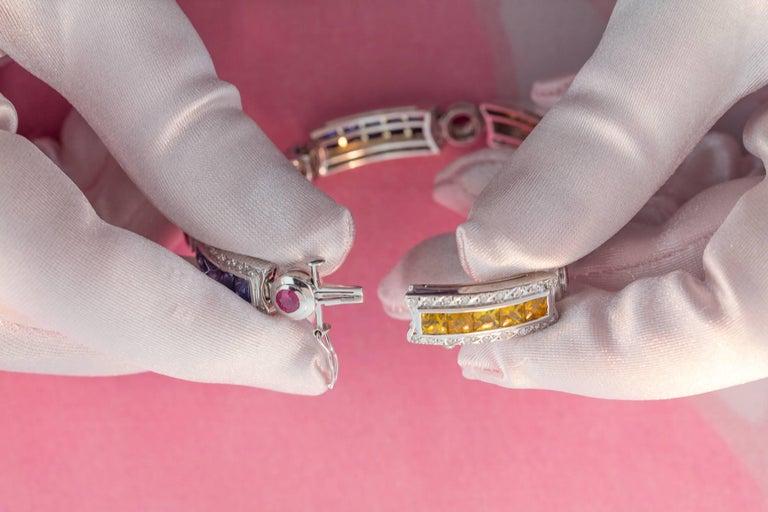 Ella Gafter Sapphire Ruby Emerald Diamond Flexible Multicolor Line Bracelet For Sale 2