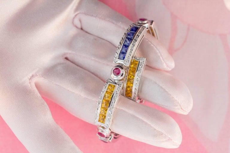 Ella Gafter Sapphire Ruby Emerald Diamond Flexible Multicolor Line Bracelet For Sale 4