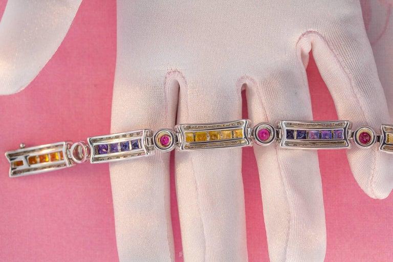 Ella Gafter Sapphire Ruby Emerald Diamond Flexible Multicolor Line Bracelet For Sale 1