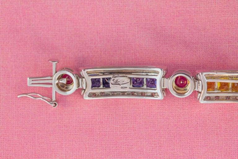 Ella Gafter Sapphire Ruby Emerald Diamond Flexible Multicolor Line Bracelet For Sale 3