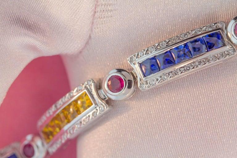 Ella Gafter Sapphire Ruby Emerald Diamond Flexible Multicolor Line Bracelet For Sale 5