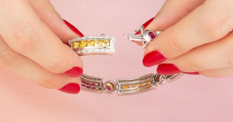 Ella Gafter Sapphire Ruby Emerald Diamond Multicolor Line Bracelet For Sale 1