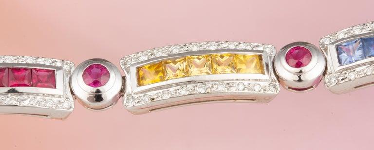 Ella Gafter Sapphire Ruby Emerald Diamond Multicolor Line Bracelet For Sale 2