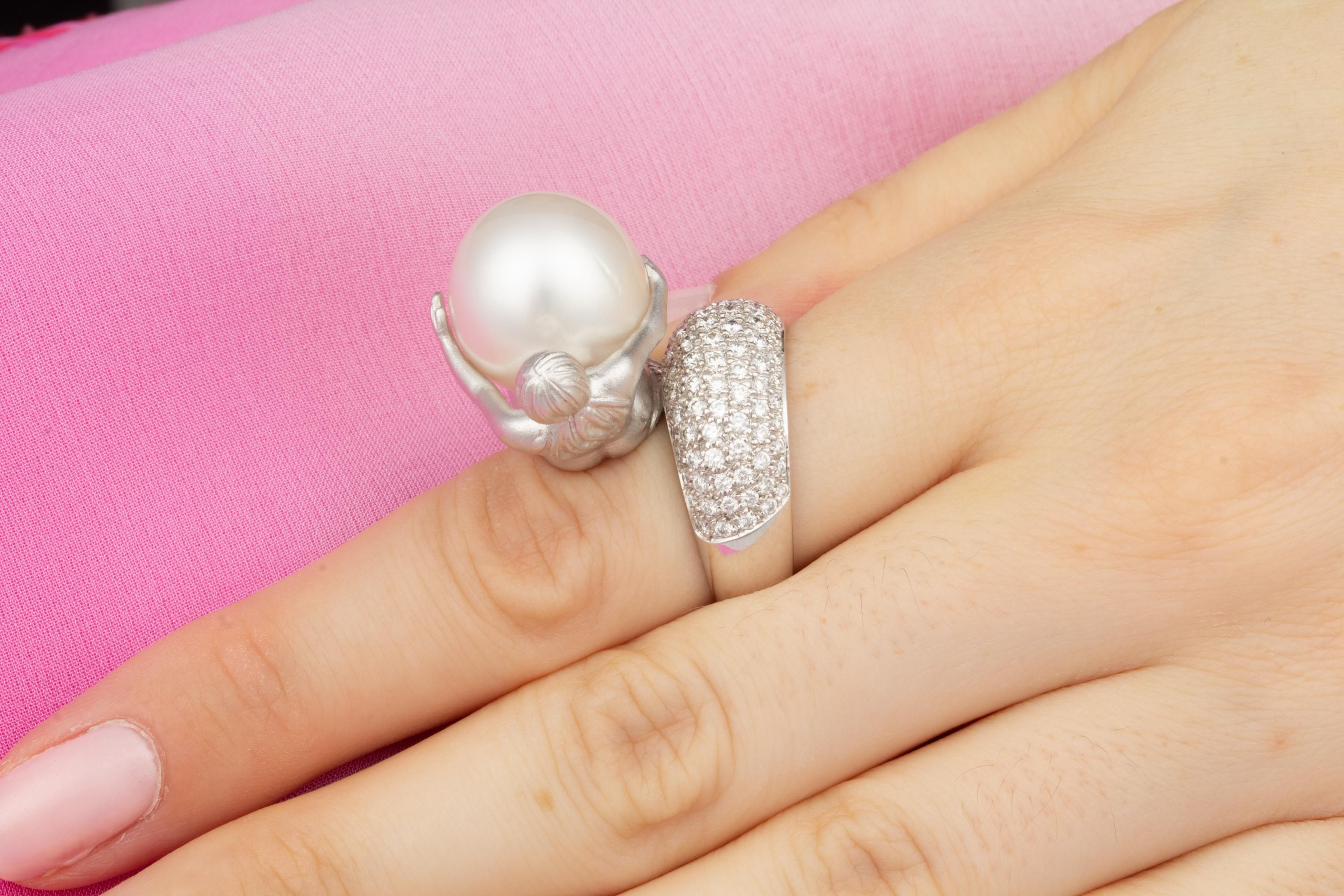 Ella Gafter Zodiac Virgo Ring with South Sea Pearl and Diamonds For ...