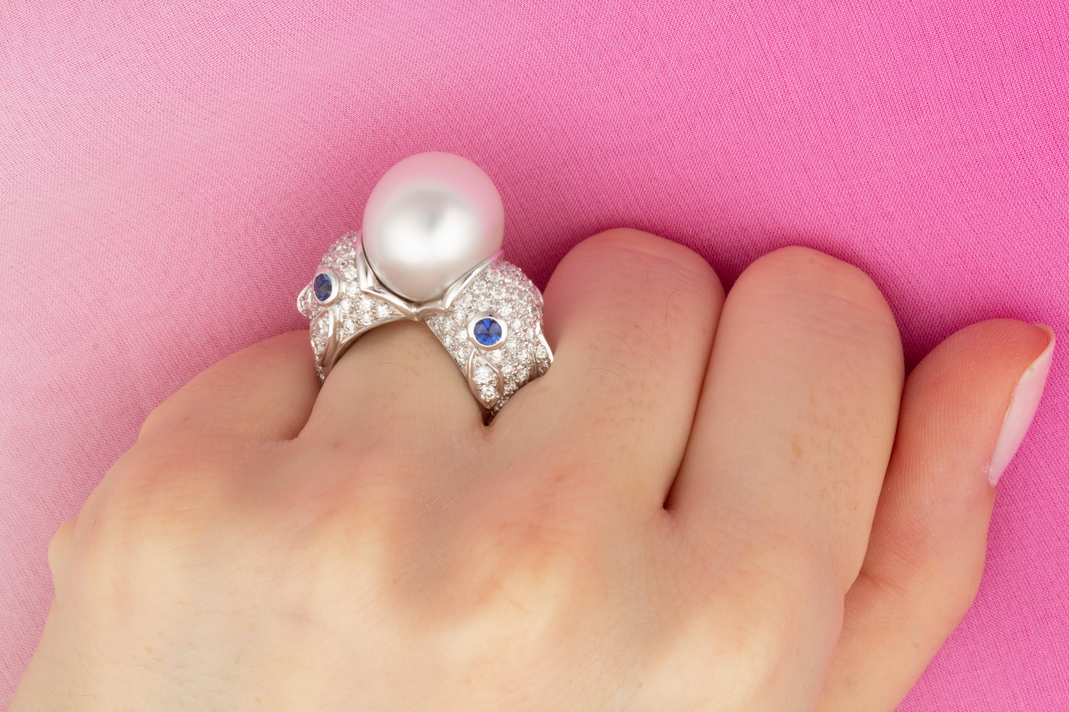 Ella Gafter Zodiac Pisces Ring with South Sea Pearl and Diamonds For ...