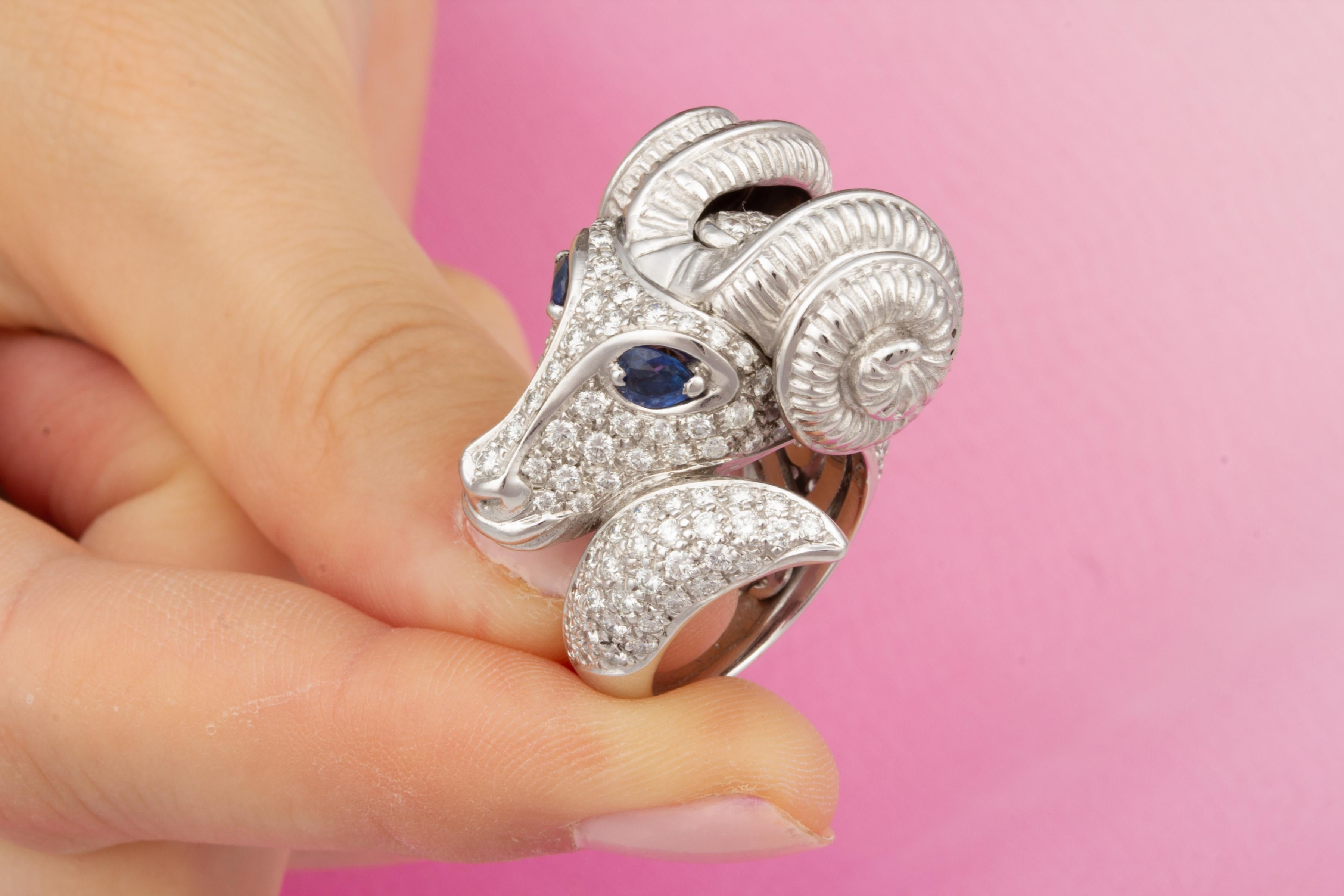 Ella Gafter Zodiac Aries Ring with Diamonds and Sapphire For Sale at ...