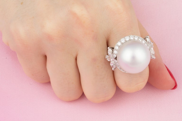 Ella Gafter White South Sea Pearl and Diamond Ring For Sale 1