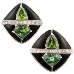 Ella Gafter Onyx and Diamond Cufflinks Green Sapphire