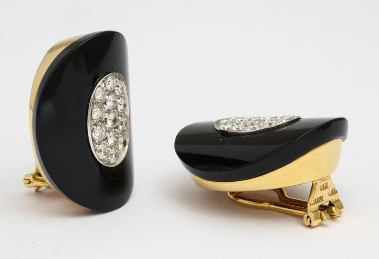 Retro Modern Onyx Diamond Earrings with Clips For Sale
