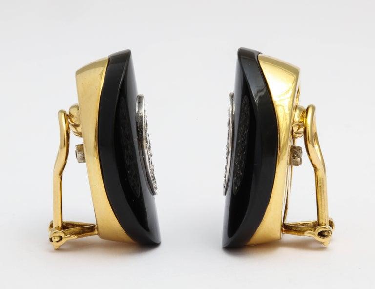 Women's or Men's Modern Onyx Diamond Earrings with Clips For Sale
