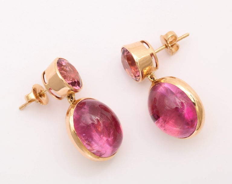Contemporary Donna Vock Rose Gold, Pink Tourmaline and Rubelite Earrings For Sale