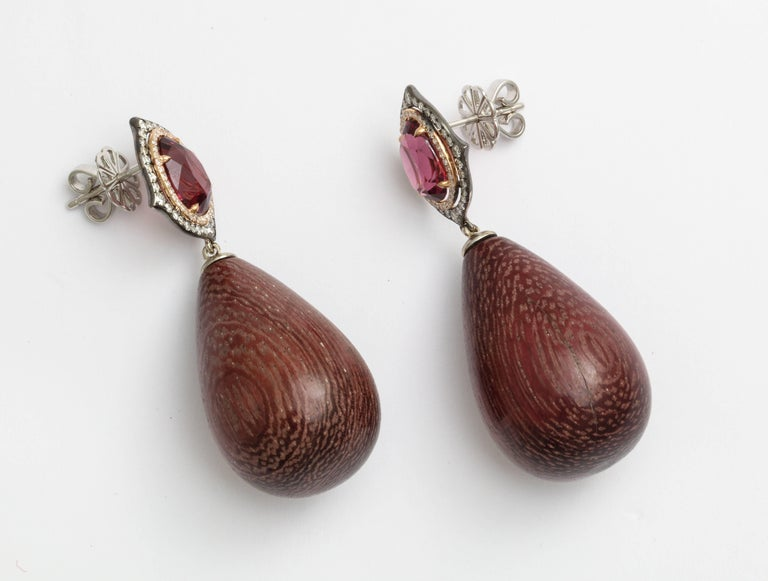 Contemporary Donna Vock Rhodolite, Diamond and Amaranth Wood Drop Earrings For Sale