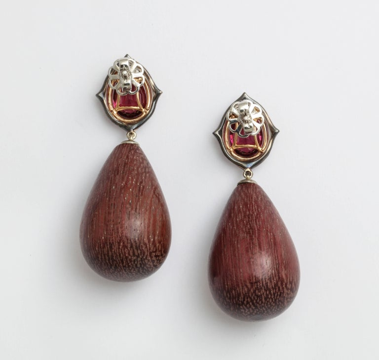 Donna Vock Rhodolite, Diamond and Amaranth Wood Drop Earrings In As new Condition For Sale In New York, NY