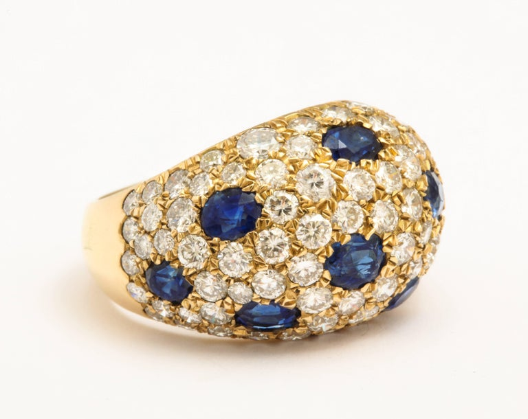Contemporary 18 Karat Gold French Dome Ring with Sapphires and Diamonds For Sale
