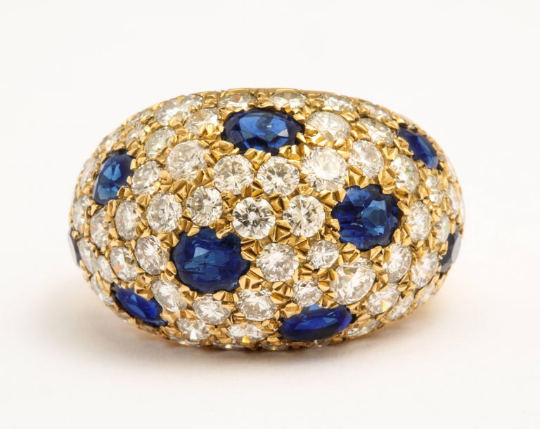 Women's or Men's 18 Karat Gold French Dome Ring with Sapphires and Diamonds For Sale