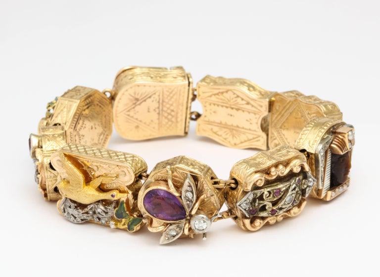 14k gold multi gem slide charm bracelet at 1stdibs