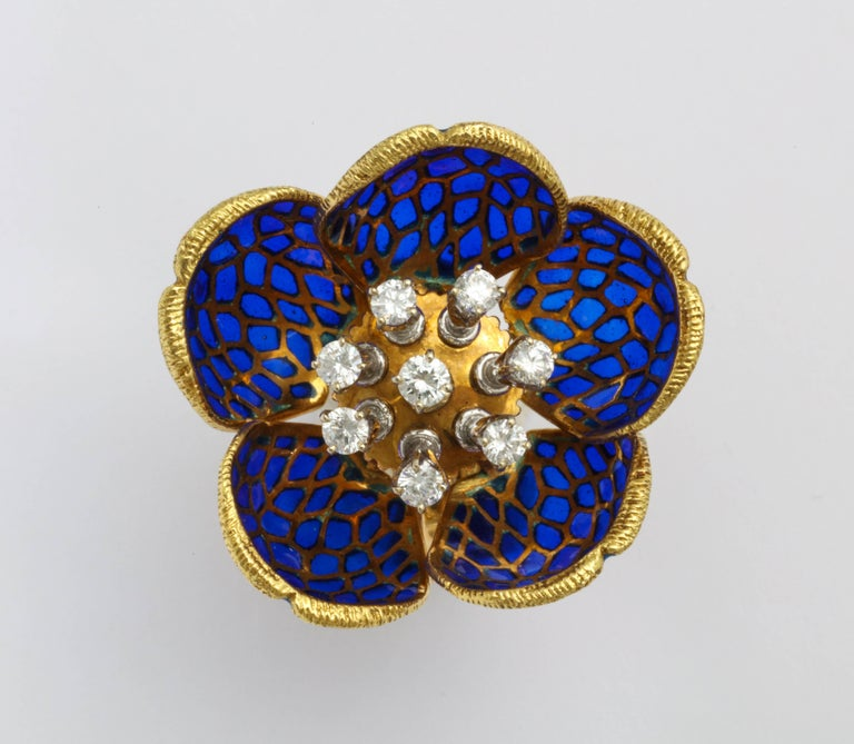 Round Cut Plique-a-Jour Enamel Gold and Diamond Flower Clip-On Earrings For Sale
