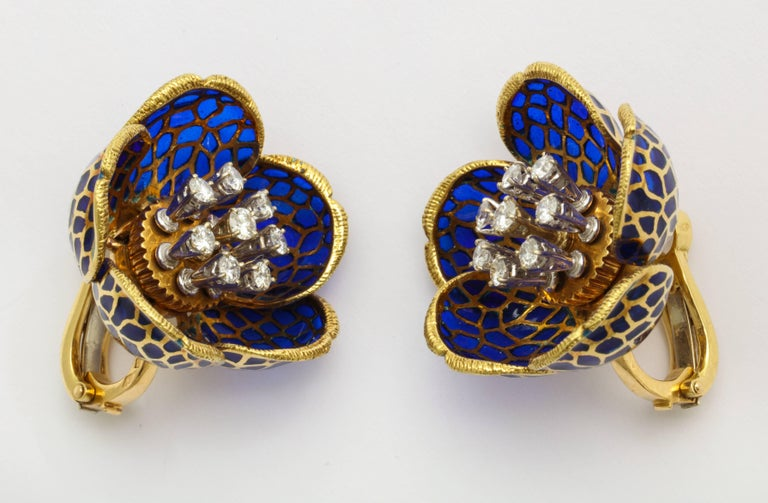 Women's or Men's Plique-a-Jour Enamel Gold and Diamond Flower Clip-On Earrings For Sale