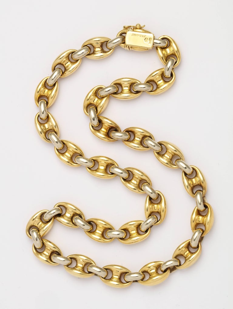A classic, ready to wear Bulgari chain in this iconic link!  This chain is 16 1/2 inch length, making it perfect for layering, or wearing alone as statement. Two tone 18K gold is great for mixing and matching with a range of other jewelry pieces.